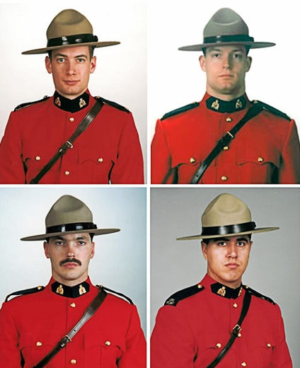 Constable Peter Christopher Schiemann (top L), Constable Brock Warren Myrol (top-R), Constable Lionide (Leo) Nicholas Johnston (bottom-L), and Constable Anthony Fitzgerald Orion Gordon. (Killed in Mayerthorpe, 2007)