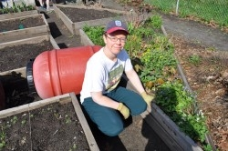 Julia Lipinska hopes squirrels won't be taking advantage of the community garden. She says they love to nibble on tomatoes and squash.