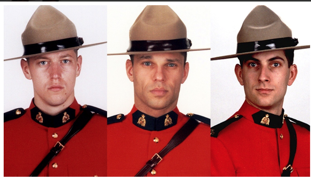 Feature image: From left: Const. Dave Joseph Ross, Const. Fabrice Georges Gevaudan and Const. Douglas James Larche (killed in Moncton in 2014)