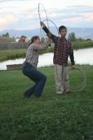 A young wrangler learns the ropes at Latigo Ranch
