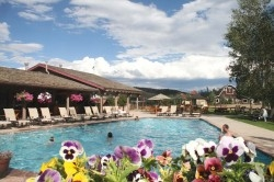 The pool area at C Lazy U Ranch