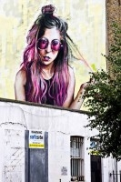 Artwork in tribute of Winehouse near her Camden Town home. Photo by Andre Gagne.