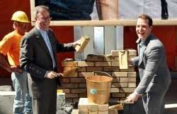 Mayor Jim Watson (left) and City Councillor Mathieu Fleury at Rideau Centre ceremony on May 7, 2015. Photo Credit: Dennis Drever