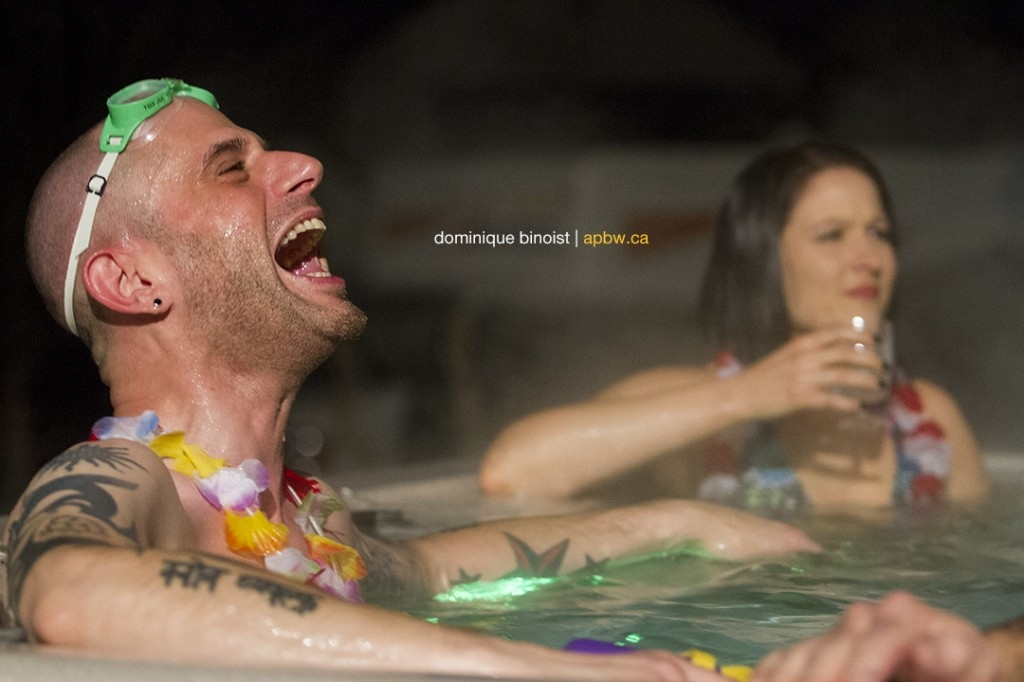 James Brown hot tub party! Not pictured: inverted nipples. (Photo Credit: Dominique Binoist apbw.ca)