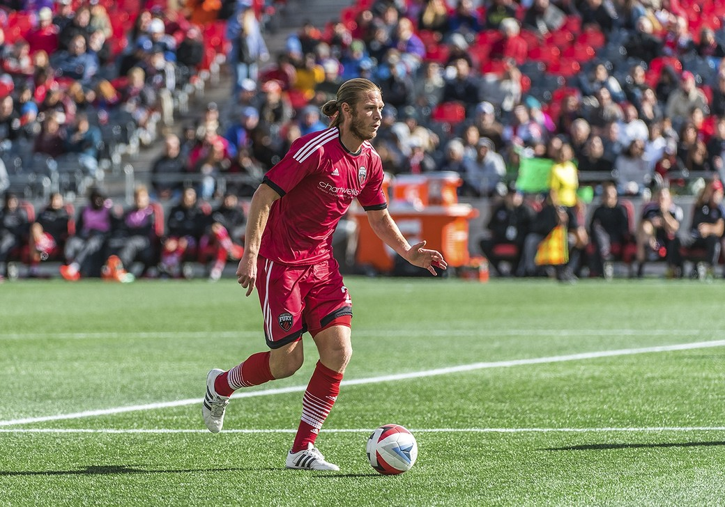 Ottawa Fury FC midfielder Lance Rozeboom (#25) during the NASL match between the Ottawa Fury FC and New York Cosmos FC at TD Place Stadium in Ottawa, ON. Canada on Oct. 9, 2016. PHOTO: Steve Kingsman/Freestyle Photography