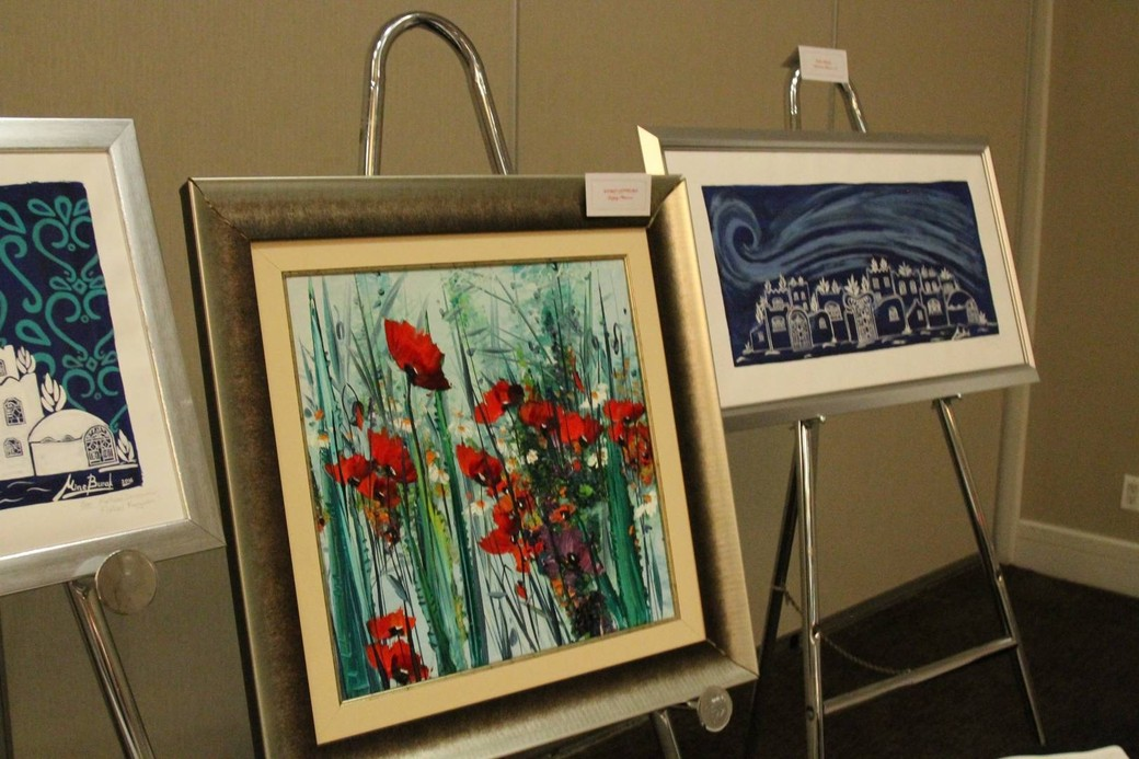 Paintings up for auction at the gala.