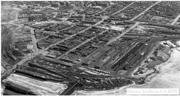 Aerial view of the flats in 1960, a couple of years before being cleared - Ottawa Archives CA-8539.