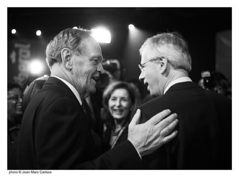 Jean Chrétien and Stéphane Dion at the 2006 Liberal Leadership Convention. PHOTO: JEAN-MARC CARISSE