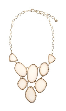 Luminous ivory epoxy surrounded by glass stones necklace from Stella & Dot $128