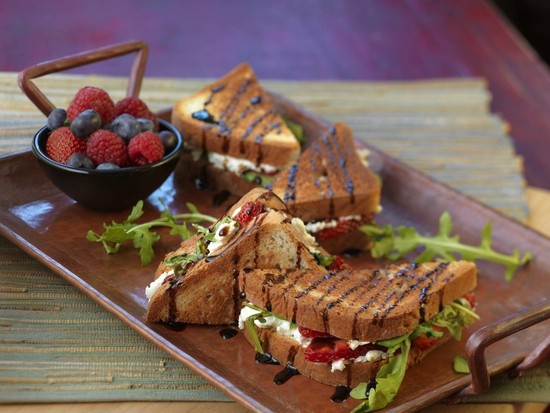 Strawberry and Goat Cheese Grilled Sandwich with a Balsamic Glaze