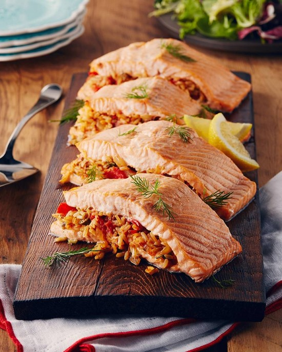 Cedar-Planked Salmon Stuffed with Brown Rice