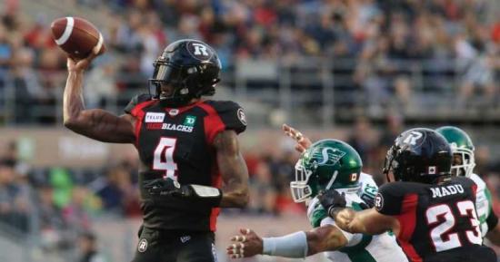 Davis and Rhymes Lead Ottawa Redblacks over Roughriders in High-Scoring Home Opener, Start Season 2-0