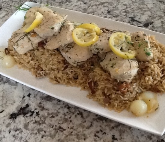 Spring Chicken In Wine Sauce in Gluten-Free Lemon-Brown Basmati Rice