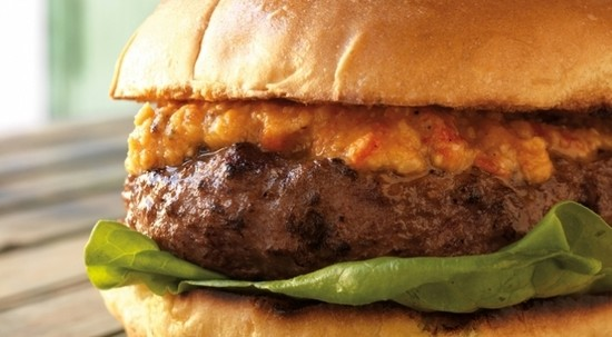 Burger of the Week: Feta-Stuffed Burgers with Romesco Sauce