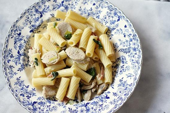 Mushroom and Leek Pasta with Chicken Sausages and Prosciutto