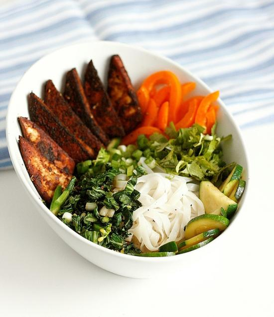 Let's Dine In - Veggie-Packed Noodle Bowl with Tofu Steaks and Peanut Sauce