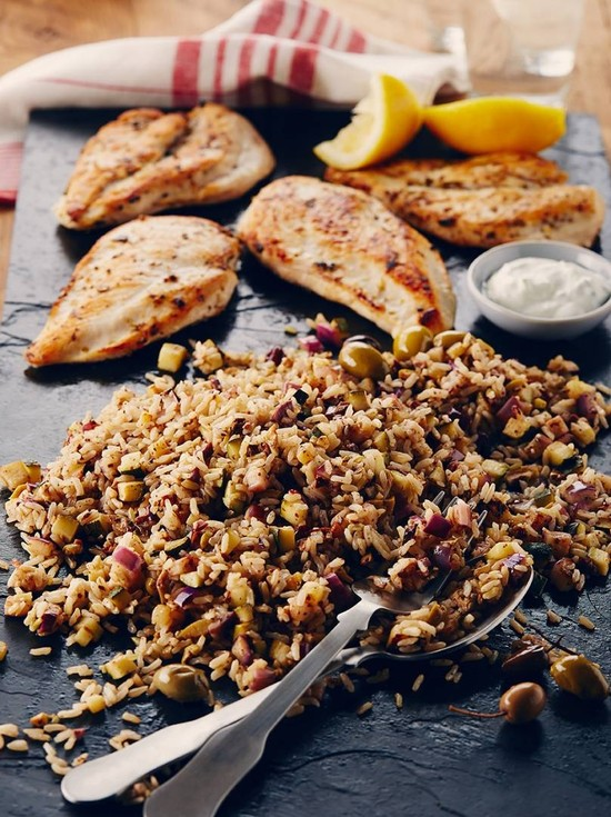 Slate Grilled Chicken with Lemon Olive Rice