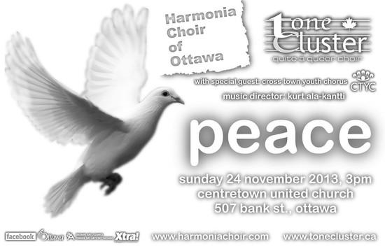 "Tone Cluster, quite a queer choir and Harmonia Choir of Ottawa present A Global Concert of ""Peace""… from Arabic to Zulu"