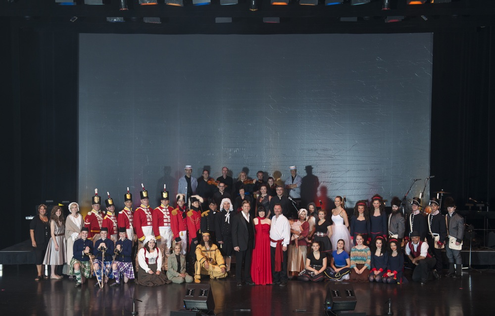Group photo of the cast members from the live production of A Musical Taste of our Canadian Heritage / Notre patrimoine canadien, une odyssée musicale. Courtesy of Brian Goldschmied