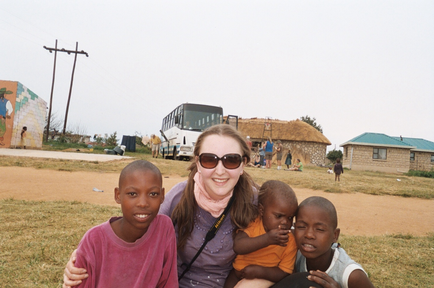 Stephanie Vizi with the orphans. Courtesy of Rachel's Home.