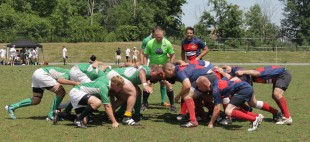 Members of the Barrhaven Scottish Rugby Football Club men's team prepare for a scrum in a game at South Nepean Park.