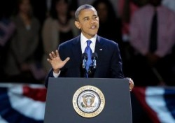 Barack Obama Delivering His Victory Speech. PHOTO: Eurweb