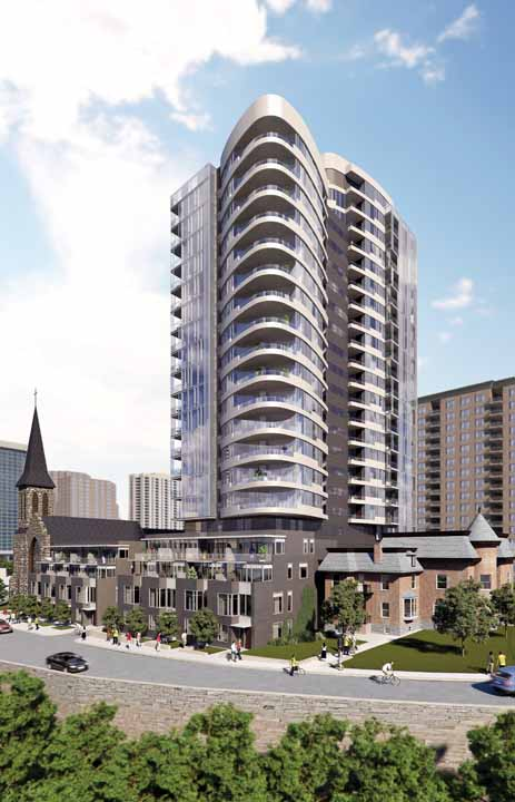 The curved condo tower is part of the Cathedral Hill development that incorporates the existing Christ Church Cathedral on Sparks Street near Bronson Avenue.
