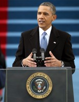 President Barack Obama giving his second inaugural address