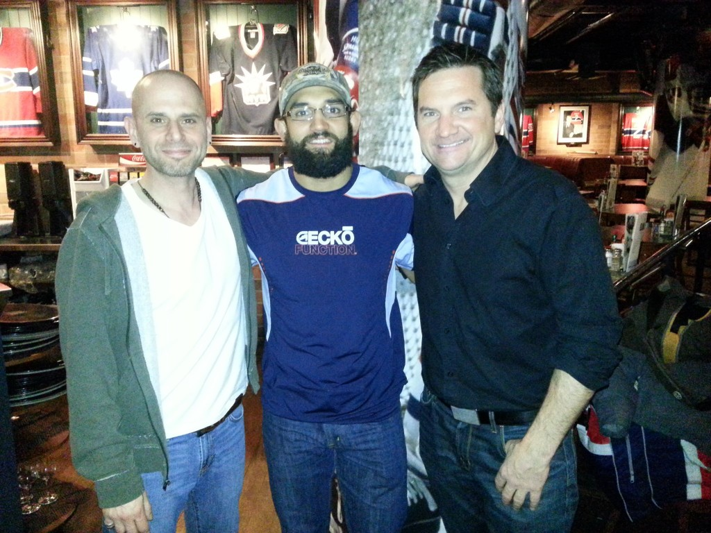 Me, Johny Hendricks and Peter M. Dillon. Hells, yeah! The boys are back in town! Well, back in the basement of a Cage aux Sports in downtown Montreal, in any event.