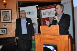 Mayor Jim Watson and Bruce Lazenby, the CEO of Invest Ottawa, congratulate entrepreneurs at the GEW kick-off.
