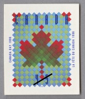 Maple leaf design by Raymond Bellemare, made into a quilt by artisan Claire Brisson, and then a stamp in 1996