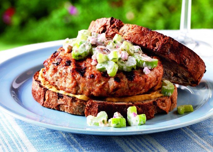 Chicken-Apple Burgers with Celery Salad