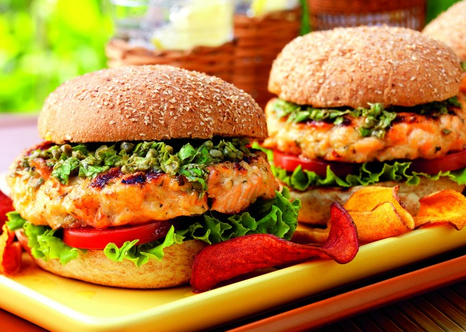 Salmon Burgers with Lemon Salsa Verde
