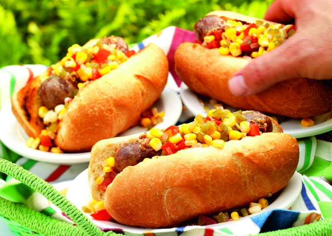 Grilled Brats with Spicy Tomato-Corn Chow Chow