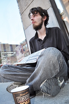 Homeless Kevin Belisle, 23, asks the government for a job, so he doesn't have to beg for food.