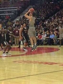 Gee-Gees point guard Mike L'Africain about to shoot a three-pointer at the Capital Hoops Classic, February 5th Photo by Meagan Simpson