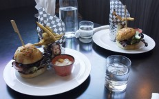 Candied Bacon Cheese Burger & Hamre Burger with Herb Fries.