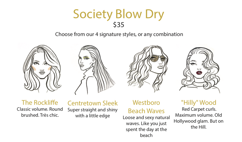 Society Blow Dry Menu