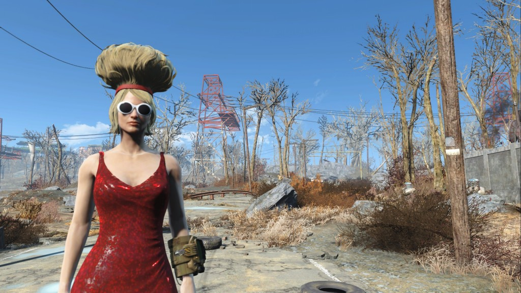 Wasteland style: Megaton hair, armoured red dress and fashionable glasses. Unstoppable.